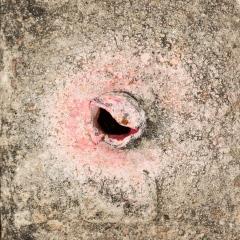 Broken Metal Fence Post: Pink